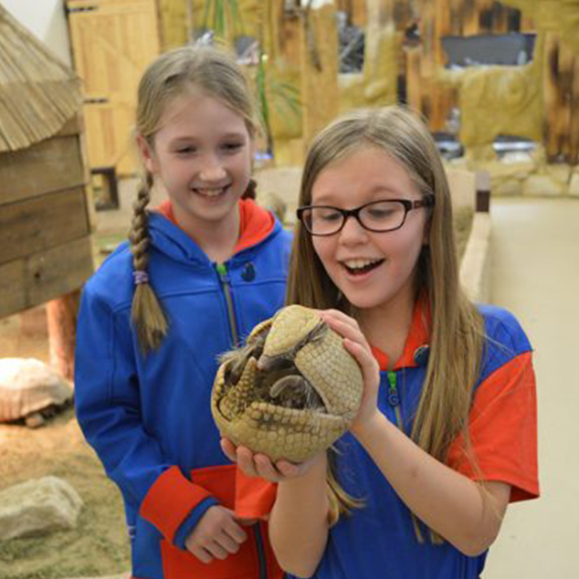 girls holding an armadillo