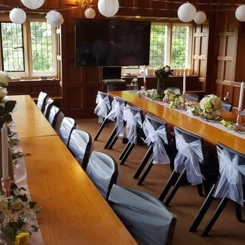 birthday event wooden table and chairs